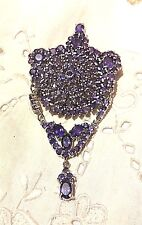Antique Genuine Amethyst 925 Sterling Silver Vintage Pendant Brooch Pin