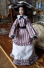 Miniature Dollhouse Artisan Porcelain Lady in Striped Victorian Day Dress 1:12