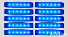 10 pcs BLUE 24V 24 VOLT 6 LED Side Marker Indicators Lights Truck Trailer Bus