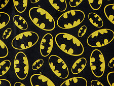 BATMAN LOGO SUPERHERO DC COMICS COTTON FABRIC DARK KNIGHT DAVID TEXTILES YARDAGE