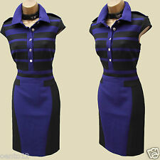 Karen Millen Navy Black Modern Stretch Tailored Office Pencil Shirt Dress 10 UK
