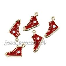 10x Red Enamel Gold Plated Alloy Shoe Charms Pendants Jewelry Making Handmade J