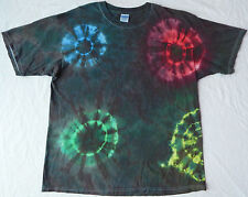 Homemade Unique Circles Tie Dye T-Shirt - Mens XL Black Psychedelic Short Sleeve