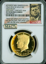 2014 W KENNEDY GOLD FIRST DAY ANA NGC MAC PF70 PQ POP-332 SPOTLESS RARE