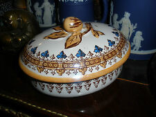 French old paris-faiance-majolica  pottery 19th century lustre covered sugar box