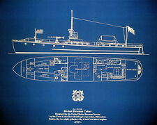 Vintage Coast Guard Cutter 1917 Print Ships Plan Blueprint Drawing 23x27 (028)