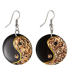 Ohrringe Ying Yang Design Holz Earrings Schmuck ER249
