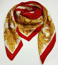 Talbots scarf silk square red and gold architectural acanthus trim design 33in