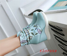 Women Lady High Wedge Heel Flora Ankle Boots Hi Top Shoes Casual Platform Size