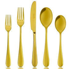 Cutlery Flatware Set Dinner Fork Spoons Gold Plated Stainless Steel 5Pcs Set New
