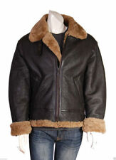 Men's Aviator B3 Ginger Brown Real Sheepskin Fur Bomber Black Leather Jacket