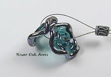 ROA Lampwork 2 Steel Blue With Silver Blue Ruffle Disc USA Art Glass Beads SRA