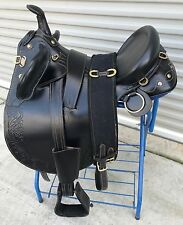 "20"" New Leather Australian Stock Saddle Package By OutBack Saddle Co.(Black)"