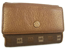 Auth BALLY Logos Pattern Leather Canvas Double Snaps Compact Wallet 14443iSa
