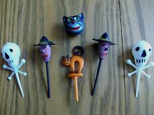 VINTAGE CUPCAKE DECORATIONS ~ HALLOWEEN ~ WITCHES SKULLS CATS