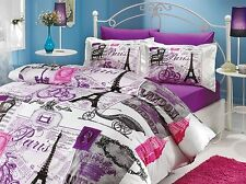 Vicenta Paris Eiffel Tower 100% Cotton Bedding Set Quilt/Duvet Cover Set Queen