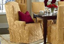 Sure Fit Antique gold matelasse Damask wing back chair slip cover slipcover