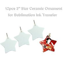 12pcs Blank Sublimation Star Ceramic Ornaments For Art Christmas Tree Decoration