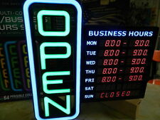"GREEN LIGHT 18"" X 18"" LED DIGITAL 64 COLORS SIGN PROGRAMMABLE LED OPEN HOURS"
