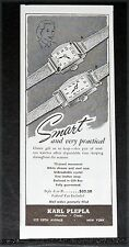 1944 OLD WWII MAGAZINE PRINT AD, KARL PLEPLA WATCHES, SMART AND VERY PRACTICAL!