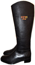 TORY BURCH Joanna Black Leather Riding Boot Flat Equestrian Bootie 8 Gold Logo