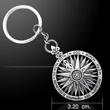 Patriotic Go Remember Return Compass .925 Sterling Silver Pendant by Peter Stone