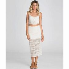 2016 NWT WOMENS BILLABONG LOVESTRUCK MIDI SKIRT $45 M white cap crochet lace