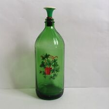 Vintage Green Glass Duraglas Laundry Ironing Bottle w/Sprinkler and Decal