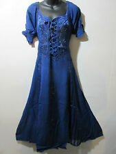 Halloween Wench Pirate Dress Fits 1X 2X  Plus Blue Corset Lace Up Chest NWT G100