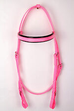 PVC Snaffle Bridle Head Hot Pink / Black
