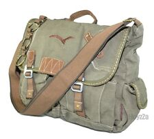 Mens Vintage Canvas Medium Size Sailor Style Casual Shoulder Messenger Bag-Green