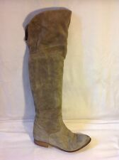 Ladies Grey Over Knee Suede Boots Size 39