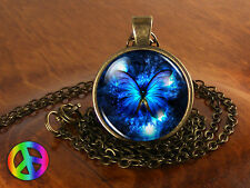 Blue Butterfly Nature Antique Vintage Necklace Pendant Jewelry Charm Gift