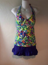 Lands' End Tankini Swimsuit Top 12DD & L Croft & Barrow Skirted Bottom NEW  12