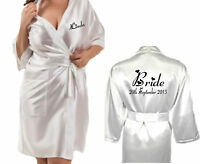 NEW Personalised WHITE Bridal Satin Robe / Gown Wedding Bride Bridesmaid Mother