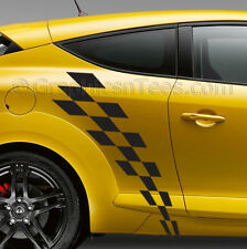 Megane Car Body Stickers Racing Checker Flag Side Stripe Vinyl Graphic Decals