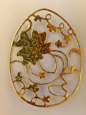 Cardmaking Embellishments Die Cuts Oval with Leaf design Qty 12 Gold Holograph.