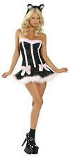 Costume Halloween Gattina Bambola Decorato Mini Abito +orecchie Lingerie