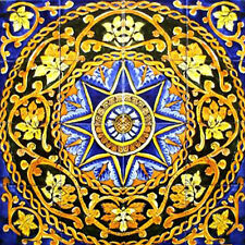 MOSAIC MEDALLION 24in x 24in ANTIQUE LOOKING BACKSPLASH TILES CERAMIC WALL MURAL