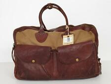 DOUBLE RL RALPH LAUREN RRL Tan+Brown Canvas+Leather Weekender Duffle Bag NEW
