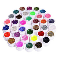 36 Farbe Nail Art Deko UV Glitter Glitzer Gel Nagel Politur Set Mode