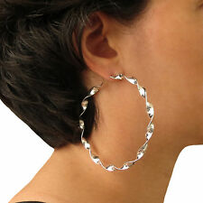 Twisted Ribbon 925 Sterling Silver Circle Hoop Earrings