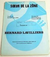 Partition music sheet BERNARD LAVILLIERS : Soeur de la Zône * 70's Promo