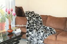 5'x6' Black White Paradise Bird Feathers Fake Fur Throw Blankets Comforter