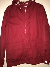 men H&M HM casual red hooded coat jacket NEW water resistant