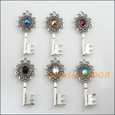 6 New Tibetan Silver Charms Mixed Crystal KEY Flower Pendants 20x49mm