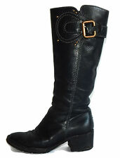 Chloe Black Grained Leather Tall Knee-High Buckle Boots Sz - 37 1/2