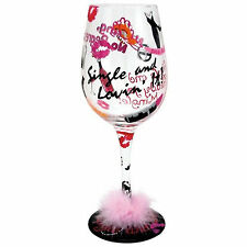 Lolita Wine Glass Single & Lovin It Hand Painted Decorated Unique Novelty Gift