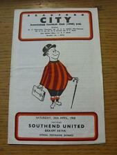 20/04/1968 Bradford City v Southend United  (Creased, Folded, Rusty Staples). It