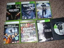 6 XBOX 360 Action Shooter Video Game Lot Bundle! Black Ops, Grand Theft Auto!